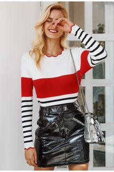 Buy Ruffles o neck stripe women sweater Long sleeve at Narvay.com.Wholesale  cheap dac4b55f5e97