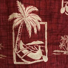Royal Hawaiian Shirt Large Red Palm Trees Outrigger Canoes Aloha Made In Hawaii #RoyalHawaiian #Hawaiian
