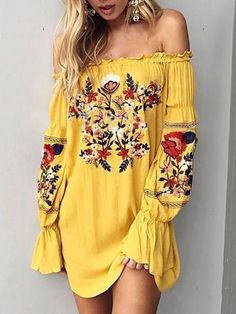 Bohemia Floral-Printed Off-the-shoulder Puff-sleeves Mini Dress – oshoplive