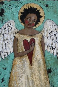 Angle by Jane deRosier. Something similar would make a lovely journal page. I'd love to do a journal of nothing but angels.