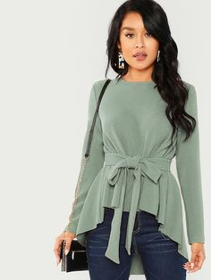 Check out this Tie-waist High-low Solid Blouse on Shein and explore more to meet your fashion needs! Girls Fall Outfits, Cute Winter Outfits, Hijab Fashion, Fashion Outfits, Tie Waist Top, Clothes 2019, Spring Shirts, Types Of Sleeves, Blouses For Women