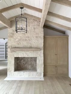 Stone Fireplace Wall, Stacked Stone Fireplaces, Limestone Fireplace, Small Fireplace, Farmhouse Fireplace, Home Fireplace, Fireplace Remodel, Living Room With Fireplace, Home Living Room