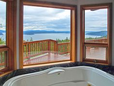Bathtub view of water: Home for sale on San Juan Island, Washington, see http://www.gnade.com/san-juan-island-home-for-sale-01.html