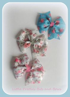Set of 3 Pinwheel Hair Clips, Floral Hair Bows, Pretty Girls Bows, Pink flower bows. - pinned by pin4etsy.com