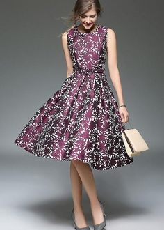 Elegant O-Neck Sleeveless Floral Print Skater Casual Dresses - dressesstar Women's Fashion Dresses, Casual Dresses, Short Dresses, Fashion Clothes, Casual Outfits, Cute Outfits, Pretty Dresses, Beautiful Dresses, Elegant Summer Dresses