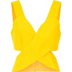 A.Brand Top cropped cruzado ($615) ❤ liked on Polyvore featuring tops, crop top, yellow top, yellow crop top and cut-out crop tops
