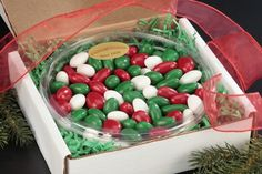 Christmas Jordan Almonds Gourmet Tray- Fresh whole California almonds, roasted to perfection before adding a rich layer of candy coating. These Jordan Almonds are by far, our most popular candy.
