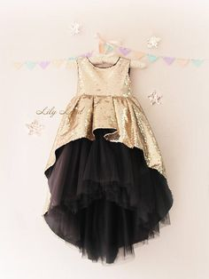 Girl dress gold black tutu dress girls tutu dress for baby