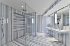 grey and white stripes - bathroom