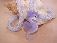 Beaded Coral Series Purple Lampwork Glass Seahorse Seed by N2Beadz, $135.00