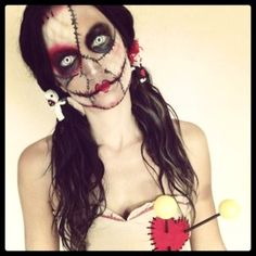 2015 Halloween zombie broken voodoo doll - stitch, rag doll, pincushion - 2015 Creepy Halloween doll makeup, tips of makeup awesome in party by MInioner Halloween Zombie, Halloween Cosplay, Halloween Makeup, Halloween Costumes, Halloween 2017, Scary Costumes, Halloween Fest, Scary Doll Costume, Costume Zombie