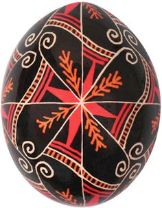 Pysanka with pine needles motif which symbolizes long life and health. Orange represents endurance and ambition.
