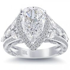 3.78 Carat D-VS2 Pear Shape Diamond Engagement Ring 18k White Gold Pave Halo - Liori Exclusive Engagement Rings - Engagement - Lioridiamonds.com
