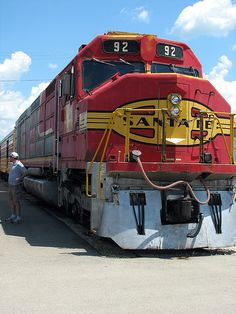Neat Santa Fe FP45H diesel at Illinois Railway Museum. You can walk through the engine compartment of this locomotive. It's reminescent of a submarine. There's a narrow walkway around a massive diesel engine with low head clearance.