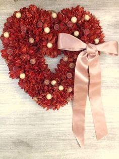 Xmas Wreath クリスマスハートインテリアリースナチュラル風ハート赤 ハンドメイド 雑貨 Handmade ¥1990yen 〆07月28日