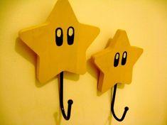 Coat hooks made into Super Mario Stars jacks room Nerd Room, Gamer Room, Super Mario Room, Super Mario Nursery, Nintendo Room, Nintendo Decor, Mario Star, Game Room Decor, Boy Room