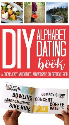DIY Alphabet Dating Book Easy Homemade Valentines Gift Idea for him or for her that's cheap, and a simple to make personalized and handmade gift idea for your boyfriend, girlfriend, friend, fiance, husband, wife or partner.