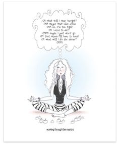 """Yoga and Meditation Humorous Wall Art. Lady in Yoga Pose Trying to Focus on Her Mantra for Peace and Harmony. 8""""x10"""" Fine Art Print."""