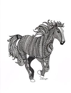 Black and White Zentangle Wild Horse drawing