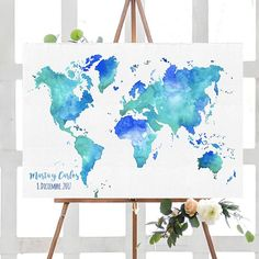 Turquoise and blue hues World map. Print Artist, All Print, Watercolor Art, Original Paintings, Tapestry, Hand Painted, Pure Products, Etsy, Prints