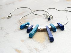 Asymmetric Necklace Sterling Silver Blue and Turquoise by bluetina