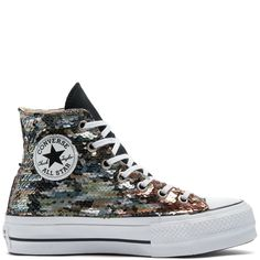 Chuck Taylor All Star Lift Sequins High Top All Star, High Tops, Site Nike, Cotton Lace, Converse Chuck Taylor, High Top Sneakers, Contrast, Wax, Sequins