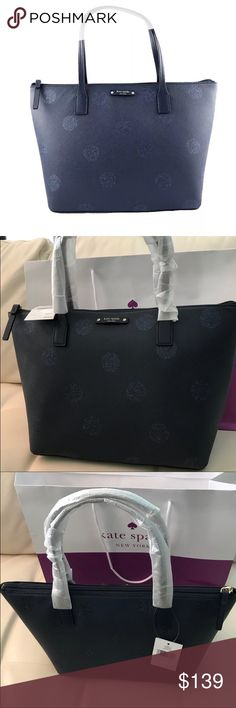"NWT KATE SPADE NY HANI HAVEN DOT LANE TOTE BAG Kate Spade handbag  Hani Haven Lane Tote Small  French Navy Glitter Polka Dot ( excuse my poor lighting, color is navy blue, not black)   New with tags. Authenticity Guaranteed!   Glitter polka dot printed saffiano textured PVC  Kate Spade logo print lining with zippered pocket and two open slip pockets  Zippered top closure with Kate Spade license plate logo on front  Dual handles have a drop of about 6.5""  Measures approximately 10.5 -14.5""…"