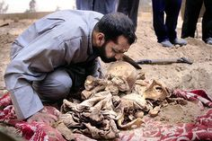 After a decade of uncertainty, Mohammad Bakar Whathiq is finally able to mourn his brother, a political dissident, discovered with others in a mass grave outside Baghdad. Long after his capture, the evil inflicted by Saddam Hussein on this countrymen will continue. (Cheryl Diaz Meyer)