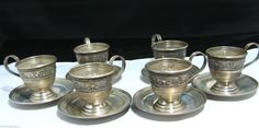 Sterling Silver Demitasse Cups Saucers Tea Espresso Coffee Set of Six Lenox | eBay