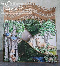 Bellisima Vida: New Woodsy Wonderland Collection from Heartfelt Creations Masculine Birthday Cards, Masculine Cards, Paper Cards, Folded Cards, 3d Cards, Spectrum Noir Markers, Heartfelt Creations Cards, Tree Images, Scrapbook Cards