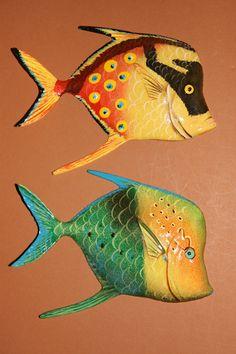"(2), 6"" TROPICAL FISH,NAUTICAL DECOR, ISLAND DECOR,CORAL,BATH, POOL, TIKI BAR #TIKIBARDECOR"