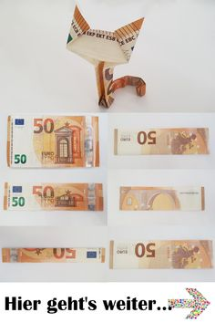 [ So geht's: Katze aus einem Geldschein falten – komplette Anleitung mit Fotos – f… Here's how: Fold cat from a bill – complete instructions with photos – fold a creative money gift from a bill. There is still the matching video! Origami Diy, Origami Simple, Money Origami, Useful Origami, Origami Tutorial, Don D'argent, Boite Explosive, Creative Money Gifts, Folding Money