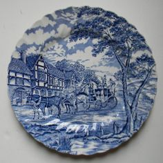 Blue & White Toile Plate English Transferware Bridge Horses Stagecoach – Nancy's Daily Dish
