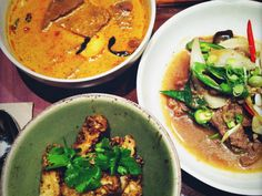 Busaba Eathai - Nat gets the red beef curry, Mase gets the duck Massaman curry, both with coconut rice. #CantGetEnough