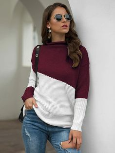 2019 Street Wear Hoodies Knit Long Sleeve Pullover Autumn Winter Sweater Woman Fashion Tops Plus Size Clothes Stylish Dresses, Women's Fashion Dresses, Winter Sweaters, Sweaters For Women, Long Sleeve Sweater, Types Of Sleeves, Beautiful Outfits, Turtle Neck, Clothes For Women