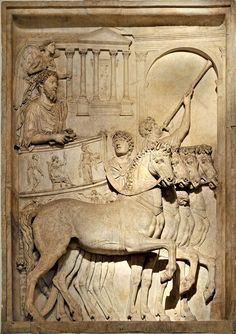 The Triumph of Emperor Marcus Aurelius, Roman relief (marble), from the Triumphal Arch of the Emperor, 2nd century AD, (Palazzo dei Conservatori, Rome).