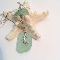Mermaid Dreams Aqua Beach Found Glass Mermaid  Pendant