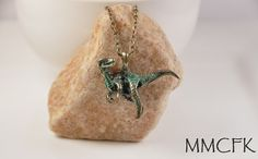 "Little Green & Gold Tyrannosaurus Rex Dinosaur Necklace with 24"" Bronze Chain #Handmade #Charm"