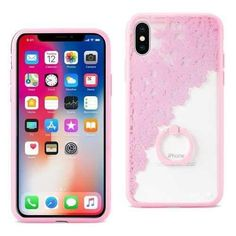 REIKO IPHONE X SEXY LACE TPU CASE WITH ROTATING RING STAND HOLDER IN PINK