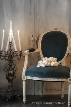 French Chair and candelabra
