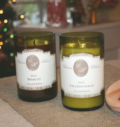 """""""wine bottle votives"""" made out of re-purposed wine bottles. What a great idea!"""