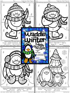 Waddle Into Winter: Penguin Math Printables Color By The Code Puzzles To Practice Math Skills. ~This Unit Is Aligned To The CCSS. Each Page Has The Specific CCSS Listed.~ This set includes 4 math puzzles with 2-Digit Addition & Subtraction without regrouping. $