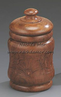 "Mango wood hand carved round polished jar box. Each box in this 2 piece set measures approximately 4"" high."