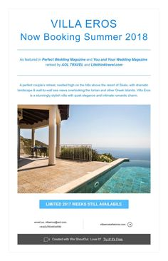 Villa Eros Now Booking Summer 2018 Landscape Walls, Perfect Couple, Greek Islands, Perfect Wedding, Villa, Romantic, Magazine, Outdoor Decor, Summer