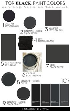 Top Paint Colors for Black Walls + Painting a Black Wall in the Living Room - Jenna Burger Design LLC Top Paint Colors, Interior Paint Colors, Paint Colors For Home, Wall Colors, House Colors, Valspar Paint Colors, Paint Decor, Behr Paint, Interior Walls