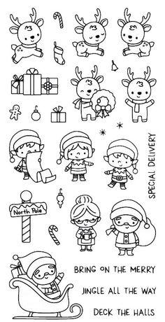 Crafting Stamps & Stamping Supplies - Simon Says Stamp Christmas Colors, Kids Christmas, Christmas Crafts, Xmas, Christmas Doodles, Christmas Drawing, Tampons Transparents, Cute Doodles, Diy Scrapbook