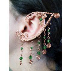 (1) Elaborate Ouchless Elven Ear Wrap Copper Dark Green Elf Elven Ear... ❤ liked on Polyvore