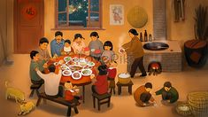 family reunion of the annual night rice Art Drawings For Kids, Cute Drawings, Chinese Art, Chinese Culture, Background Retro, Chinese New Year Design, New Year Illustration, Chinese Festival, New Year Greetings