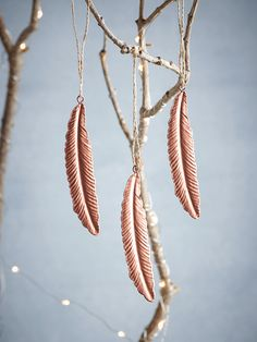 Pressed Metal Feathers - Copper - Tree Decorations - Christmas