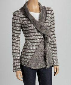 Grey Wrap Sweater.